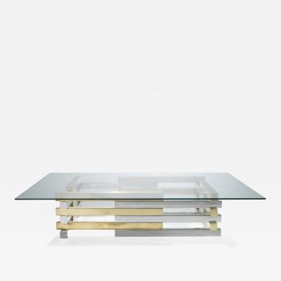 Pierre Cardin Rare brass and chrome coffee table by Pierre Cardin 1970s