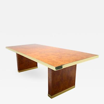 Pierre Cardin SIgned Burlwood and Brass Dining Table by Pierre Cardin