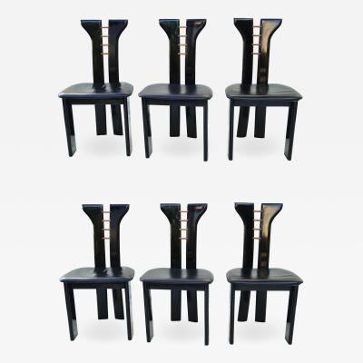 Pierre Cardin Set 6 Pierre Cardin Roche Bobois Italian Black Lacquer Dining Conference Chairs
