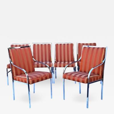 Pierre Cardin Six Pierre Cardin Chrome Mid Century Modern Dining Milo Baughman Style Chairs