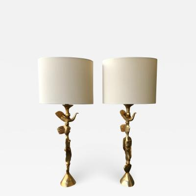 Pierre Casenove Pair of Gilt Bronze Lamps by Pierre Casenove for Fondica France 1980s