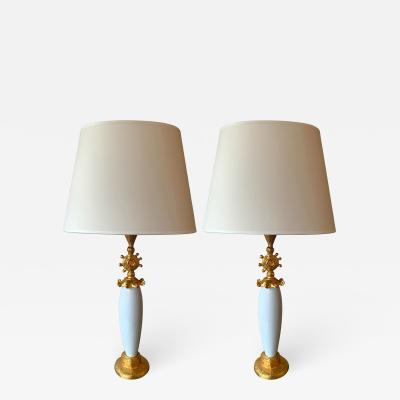 Pierre Casenove Pair of Sun Lamps Ceramic Gilt Metal by Pierre Casenove for Fondica