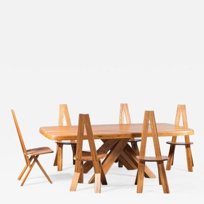 Pierre Chapo Chaises S45 Set of 6 Table T35D