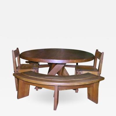 Pierre Chapo Five Piece Oak Dining Set by Pierre Chapo