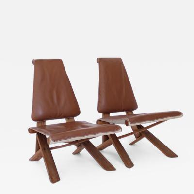 Pierre Chapo PIERRE CHAPO PAIR OF S46 DROMADAIRE CHLACC AND LEATHER LOUNGE CHAIRS