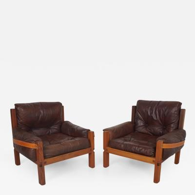 Pierre Chapo Pair of Leather Club Chairs by Pierre Chapo