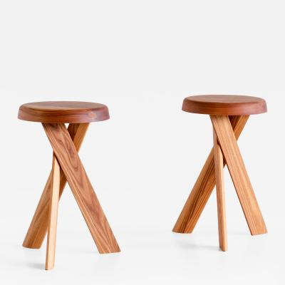 Pierre Chapo Pair of Pierre Chapo S31 Stools in Solid Elm Chapo Creation France