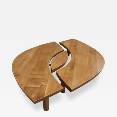 Pierre Chapo Pierre Chapo 1st edition model oeuil spectacular coffee table in solid elm