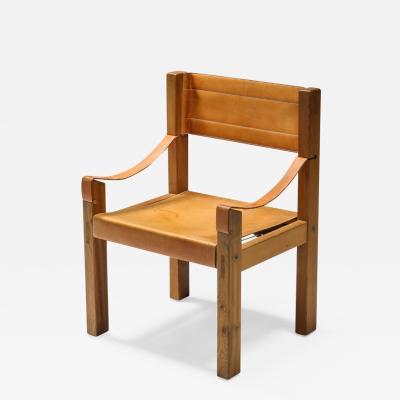 Pierre Chapo Pierre Chapo Cognac Leather Arm Chair 1960s