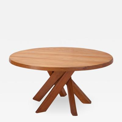 Pierre Chapo Pierre Chapo Round Dining Table In Solid French Elm 1960s