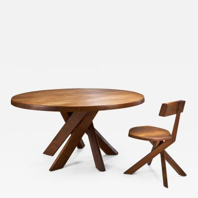 Pierre Chapo Pierre Chapo S34 Chair and T21D Sfax Table in Solid Elm France 1960s