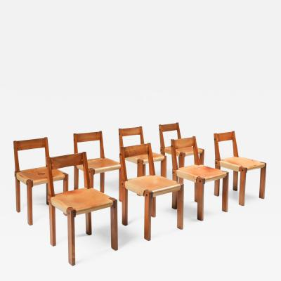 Pierre Chapo Pierre Chapo Set of Eight S24 Chairs in Solid Elm and Natural Leather 1966