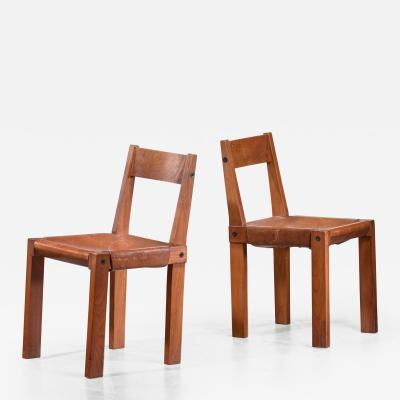 Pierre Chapo Pierre Chapo Set of Four Elm and Leather Dining Chairs