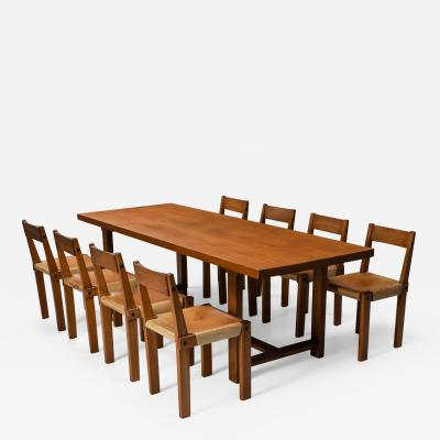 Pierre Chapo Pierre Chapo dining set with T01D table and S24 chairs in solid elm 1960s