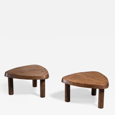 Pierre Chapo Pierre Chapo pair of small triangular elm coffee tables