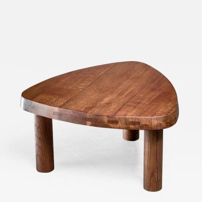 Pierre Chapo Pierre Chapo small triangular coffee table in oak France 1960s