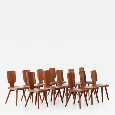 Pierre Chapo Set of 12 S28 Pierre Chapo dining chairs Chapo SA France c 1972
