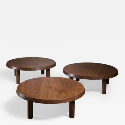 Pierre Chapo Set of 3 Pierre Chapo low oak coffee tables