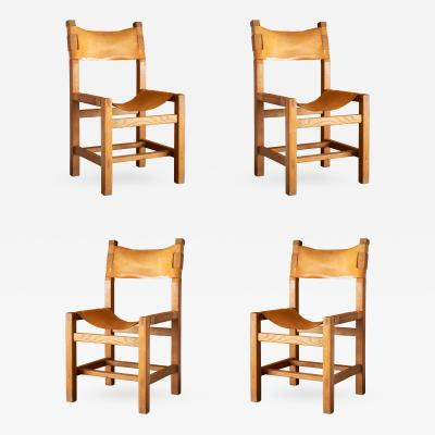 Pierre Chapo Set of 4 Oak Chairs with Strapped Leather Seats and Backs