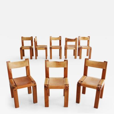 Pierre Chapo Set of Eight S11 Chairs by Pierre Chapo
