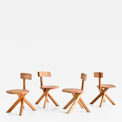 Pierre Chapo Set of Four Pierre Chapo S34 Dining Chairs in Solid Elm Chapo Creation France