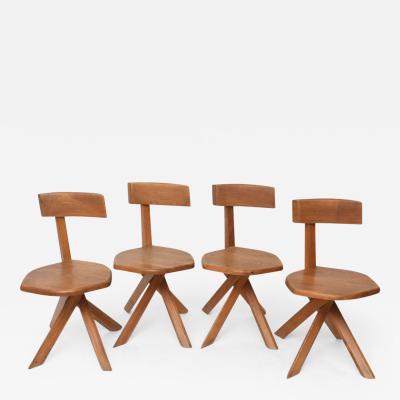 Pierre Chapo Set of Four Unusual French Modern Oak Chairs Pierre Chapo