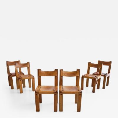 Pierre Chapo Set of Six Dining Chairs by Pierre Chapo