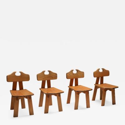Pierre Chapo Spanish brutalist chairs in solid oak 1970s