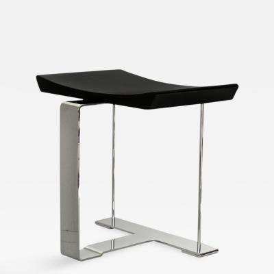 Pierre Chareau Stool Metal Wood Black Oxidized