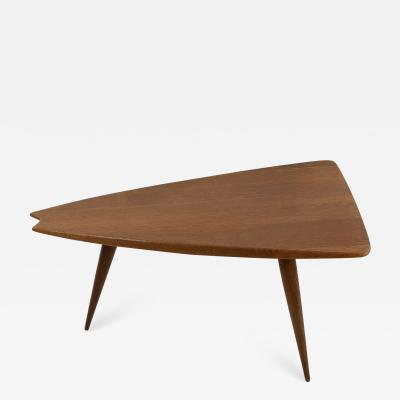 Pierre Cru ge French plain oak midcentury freeform cocktail table by Pierre Cruege