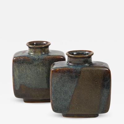 Pierre Culot Pair of Pierre Culot Earthenware Ceramic Vases Belgium circa 1975 Signed