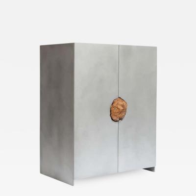 Pierre De Valck Hand Sculpted Cabinet with Original Petrified Summeroak Pierre De Valck