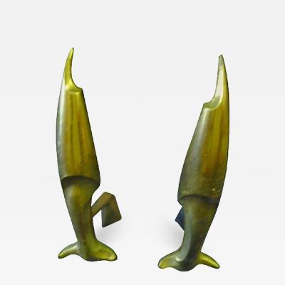 Pierre Emile LeGrain Pierre Emile LeGrain Art Deco Pair of Brass Fish Andirons
