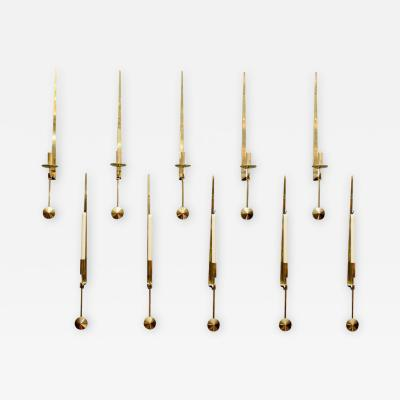 Pierre Forsell Set of Ten Brass Pendulum Wall Sconces by Pierre Forsell for Skultuna