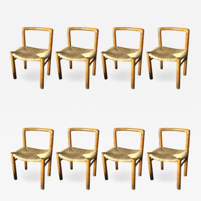 Pierre Gautier Delaye Gautier Delahaye exceptional set of 8 organic rush chairs