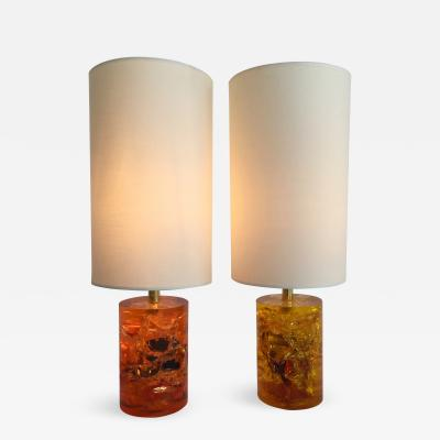 Pierre Giraudon Pair of Fractal Resin Lamps France 1970s