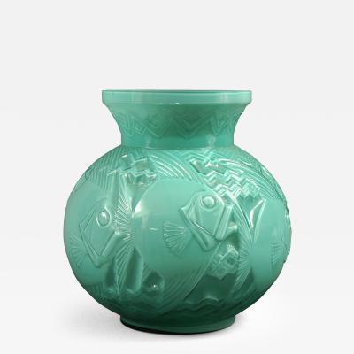 Pierre Girre aka Pierre DAvesn Pierre Davesn Glass Blue Deco Vase