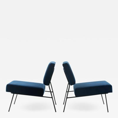 Pierre Guariche Blue velvet slipper chairs by Pierre Guariche for Airborne circa 1955