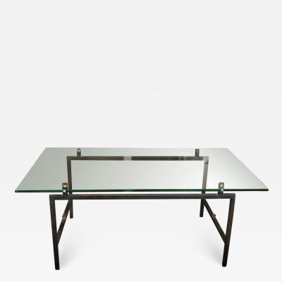 Pierre Guariche French Mid Century Modern Steel and Glass Coffee Table by Pierre Guariche
