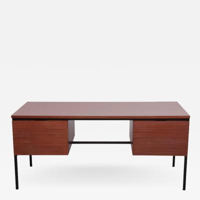 Pierre Guariche Mahogany Desk with Grey Formica by Pierre Guariche for Minivelle France 1960s