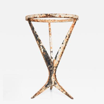 Pierre Guariche Mid Century Modern French Side Table in Iron Original Patina