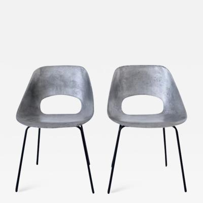 Pierre Guariche PIERRE GUARICHE CAST ALUMINUM PAIR OF TULIP CHAIRS FOR STEINER FRANCE CIRCA 1954