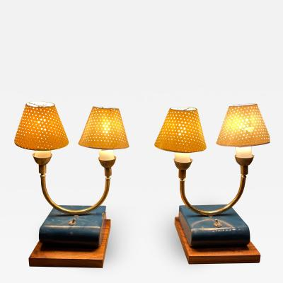 Pierre Guariche Pair of Totally French Vintage Table Lamps in Blue White Yellow FRANCE 1950s