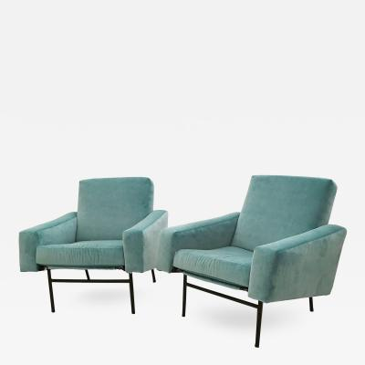 Pierre Guariche Pierre Guariche Pair of Mid Century Club Chairs France circa 1954
