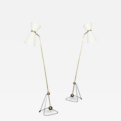 Pierre Guariche Rare Pair of Floor Lamps Model of Pierre Guariche 1970