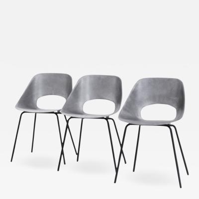 Pierre Guariche Rare Set of 3 Chairs