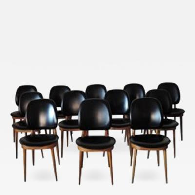 Pierre Guariche Set of 12 French 1960s Side Chairs by Pierre Guariche