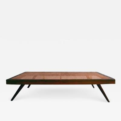 Pierre Jeanneret Daybed with cane on four bridge type legs ca 1960