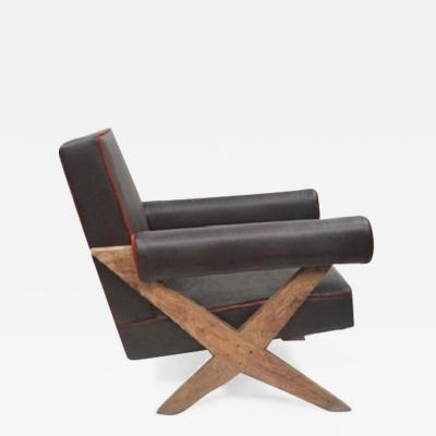 Pierre Jeanneret Easy chair with upholstery and X legs ca 1960