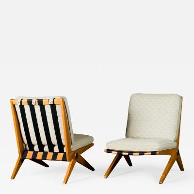 Pierre Jeanneret Jeanneret Pair of Scissors Lounge Chairs